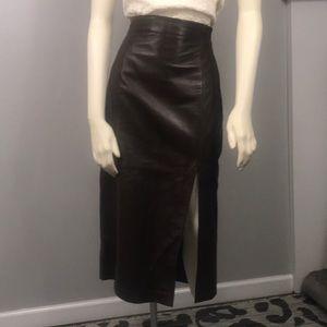 100% leather brown high waist pencil skirt